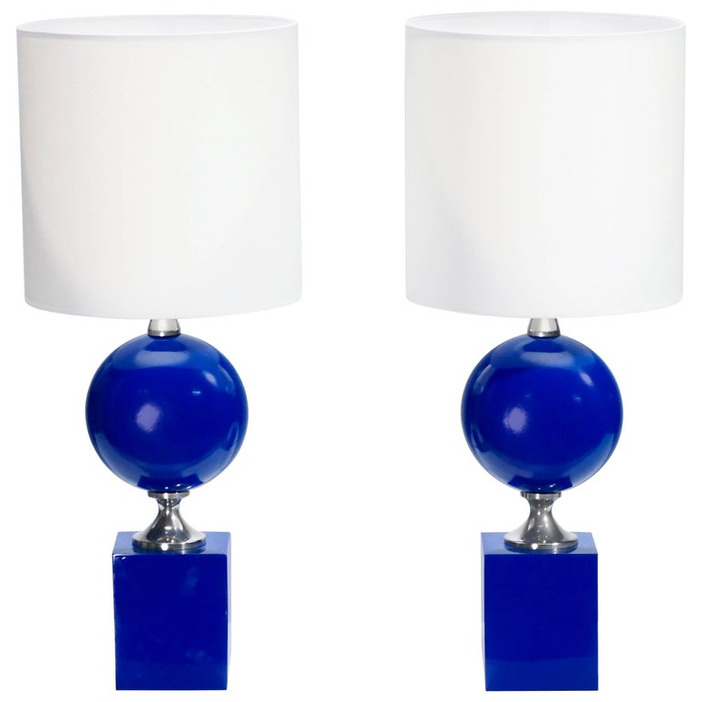 Pair of Blue Lacquered Metal Lamps by Philippe Barbier, 1970s For Sale