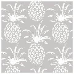 Piña Sola Designer Wallpaper in Color Heather 'White on Pale Grey'