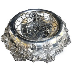 Redlich Antique Sterling Silver Art Nouveau Centrepiece Bowl with Liner and Lid