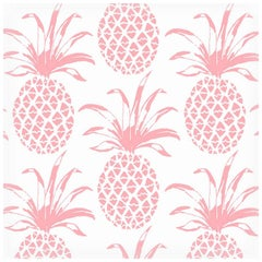 Piña Sola Designer Wallpaper in Color Rosa 'Peachy-Pink on Soft White'