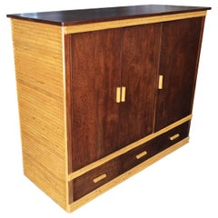 Rattan and Mahogany TV Cabinet with Component Rack or Bar