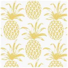 Piña Sola Designer Wallpaper in Color Lemon 'Yellow on White'