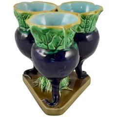 Joseph Holdcroft English Majolica Tri-Form Cobalt Blue Radish Bud Vase