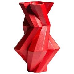 Fortress Castle Vase in Red Ceramic by Lara Bohinc