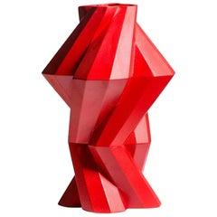 Fortress Column Vase in Red Ceramic by Lara Bohinc