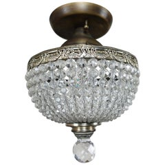 French Brass and Crystal Beaded Platfonier, circa 1940