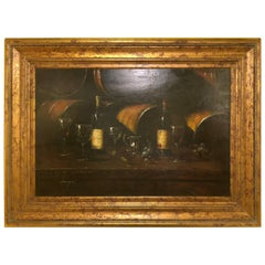 Oil on Canvas Still Life of Wine with Glasses Signed Luzanquis