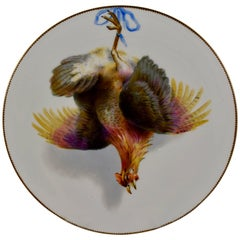 19th Century EF Bodley Staffordshire Dead Game Cabinet Plate, The Hamburgh Fowl