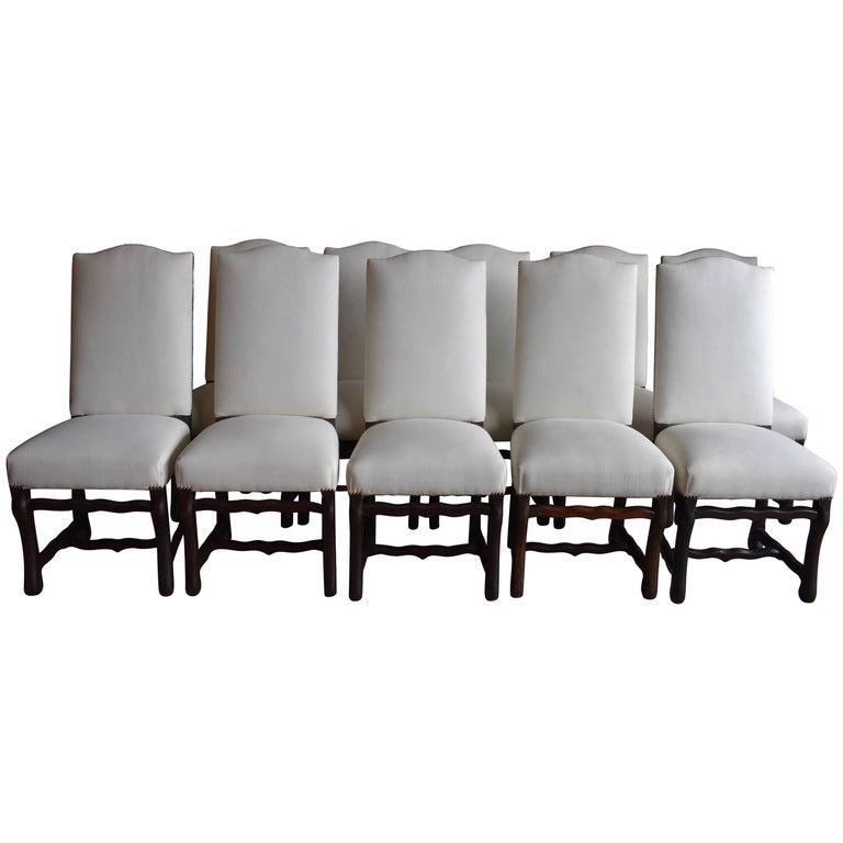 Set of Ten French Os de Mouton Dining Chairs For Sale