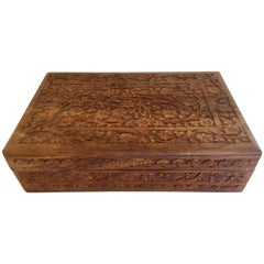 Anglo Raj Hand-Carved Wooden Decorative Jewelry Box