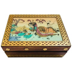Anglo-Raj Wood and Brass Box with Hand-Painted Scene