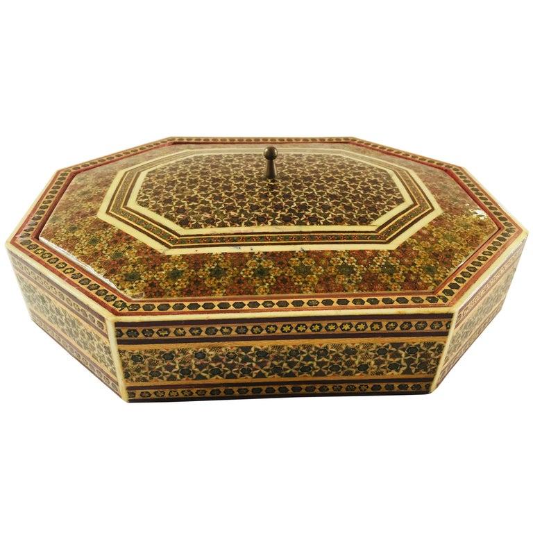 Anglo-Persian Octagonal Mosaic Khatam Inlaid Box