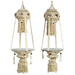 Vintage Pair of Bohemian White Macramé Hanging Tables with Round Glass Tops