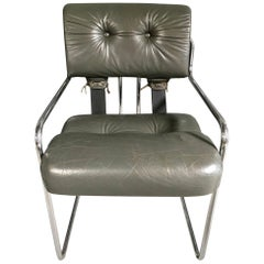 Pace Chair in Grey Leather by Guido Faleschini