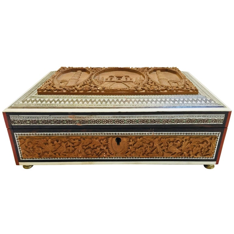 19th Century Anglo-Indian Sadeli Mosaic Jewelry Box with Lidded Compartments For Sale