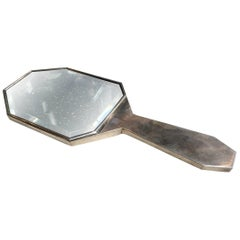 Art Deco Faceted Nickel Hand Mirror