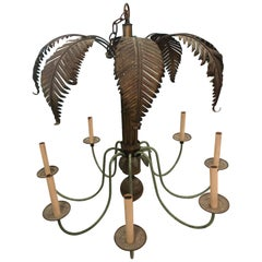 Vintage Brass Palm Frond Leaf Tree 8 Light Chandelier Faux Bamboo Palm Beach