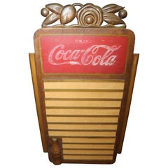 1939 Vintage Coca Cola Menu Board by Kay Displays Inc, Wood with Tin Trim