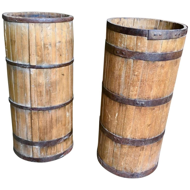 Pair of Primative Wood Barrels