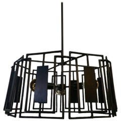 Paul Marra Trellis Chandelier Faux Bois Iron