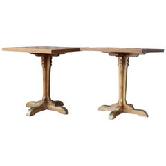 Teak French Cafe Table, Pair