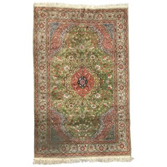 Very Beautiful Vintage Turkish Silk Kayseri Rug