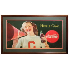 1946 Coca Cola Cardboard Poster Litho Display Cheerleader Sign Framed