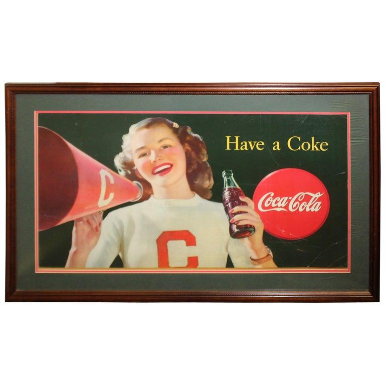 1946 Coca Cola Cardboard Poster Litho Display Cheerleader Sign Framed
