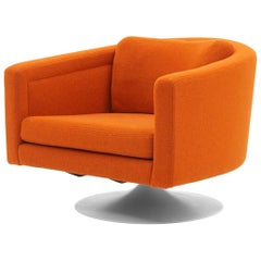 Mod Awesome Milo Baughman Swivel Chair in Maharam Redhead Fabric, Restored