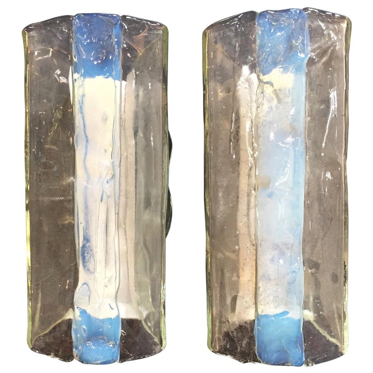 Pair of Iridescent and Clear Panelled Murano Sconces by Mazzega, Italy, 1960s For Sale