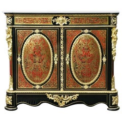 Rare Napoleon III Boulle Buffet Cabinet in Red Tortoise Shell and Brass