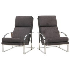 Pair of High Back Chrome Frame Lounge Chairs by Milo Baughman Excellent Restored
