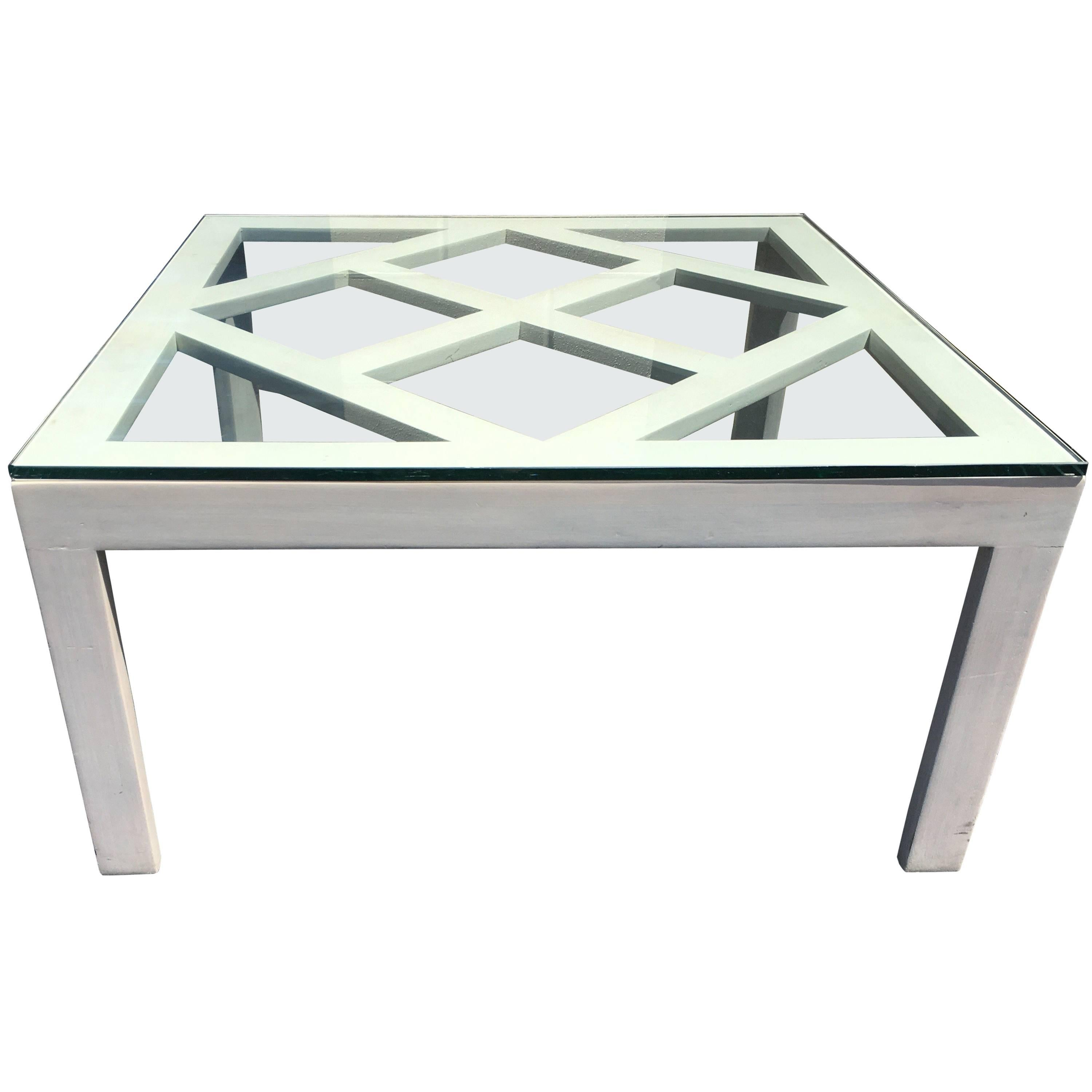 White Lattice Coffee Table By Angelo Donghia, Circa 1968 For Sale