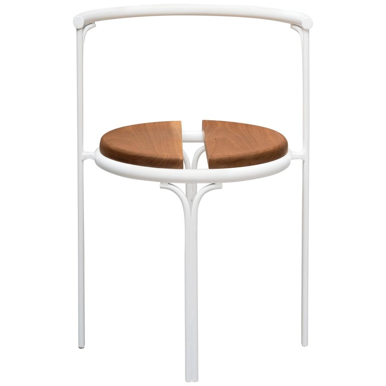 Cafe Chair Caoba Wood Contemporary Style White