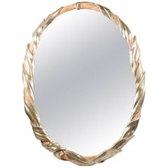 Italian Hand-Carved Mirror in Silver Leaf