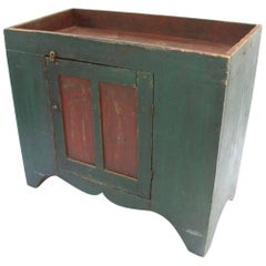 19th Century Pennsylvania Two-Tone Green and Red Painted Dry Sink