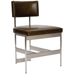 Alto Chair in Dark Brown Leather with Satin Nickel Finish by Powell & Bonnell