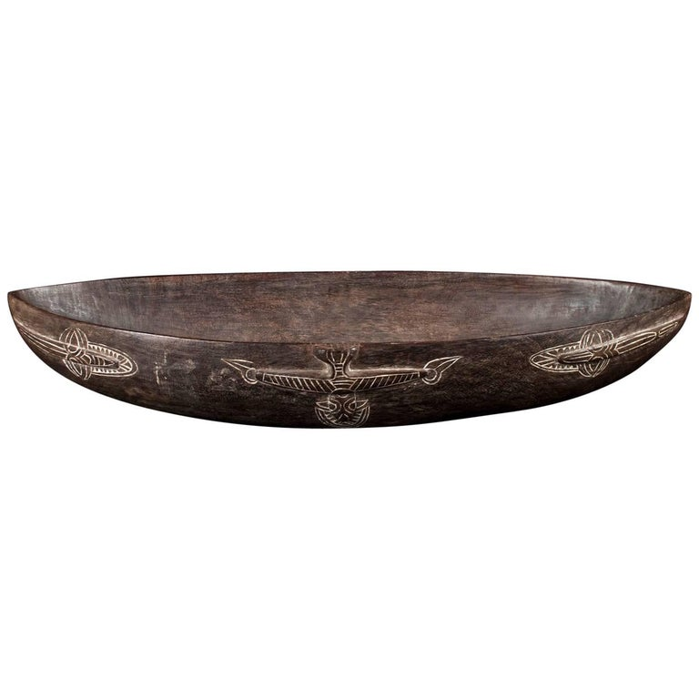 Mid-20th Century Large Tribal Wood Food Bowl, Papua New Guinea