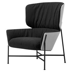 Caristo High Back Armchair Upholstered in Leather or Fabric with Ashwood Shell