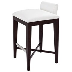 Ava Counter Stool in White Leather with Dark Wood Finish by Powell & Bonnell