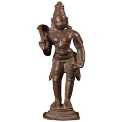 16th-17th Century Lost Wax Cast Bronze Lord Vishnu Figure, India