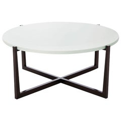 Beat Round Coffee Table with Cotton Top and Bronze Base by Powell & Bonnell