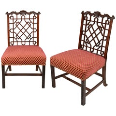 Pair of Chinese Chippendale Style Side Chairs