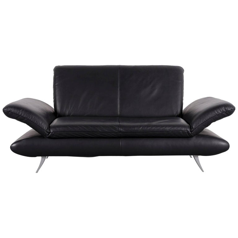Koinor Rossini Designer Leather Sofa in Black with Functions Two-Seat