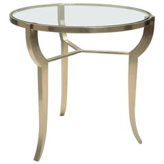 Pompeii Round Occasional Table with Glass Top by Powell & Bonnel