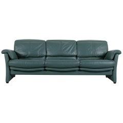 Ewald Schillig Leather Sofa Green Blue Three-Seat
