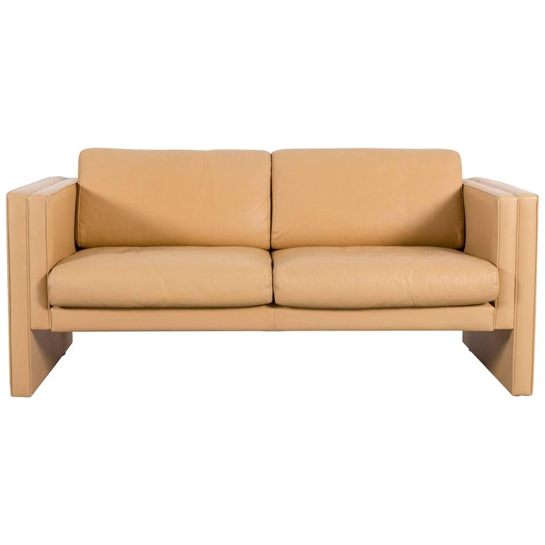Walter Knoll Leather Sofa Off-White Yellow Two-Seat Couch
