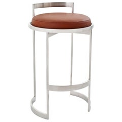 Obi Swivel Counter Stool with Tan Leather Seat by Powell & Bonnell