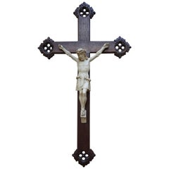 Early 20th Century Gothic Revival Crucifix with White Pipe Clay Corpus of Christ