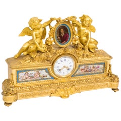 19th Century French Gilt Bronze Clock with Portrait Plaque of Molière